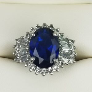 Ariella Sapphire Blue Crystal Cocktail Ring size 7